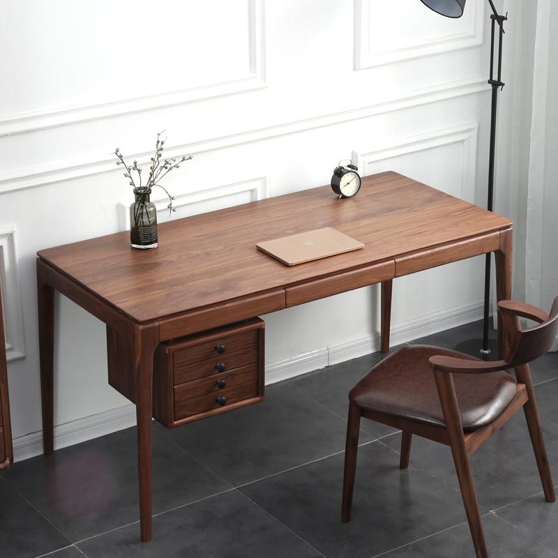 [原木优品]北欧黑胡桃木书桌白橡木实木办公电脑桌写字台书房家具