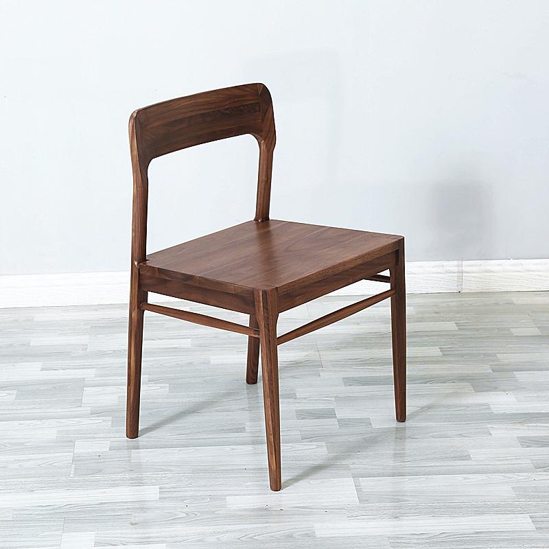 原木优品北欧黑胡桃木餐椅简约现代原木书桌靠背椅子凳子实木家具