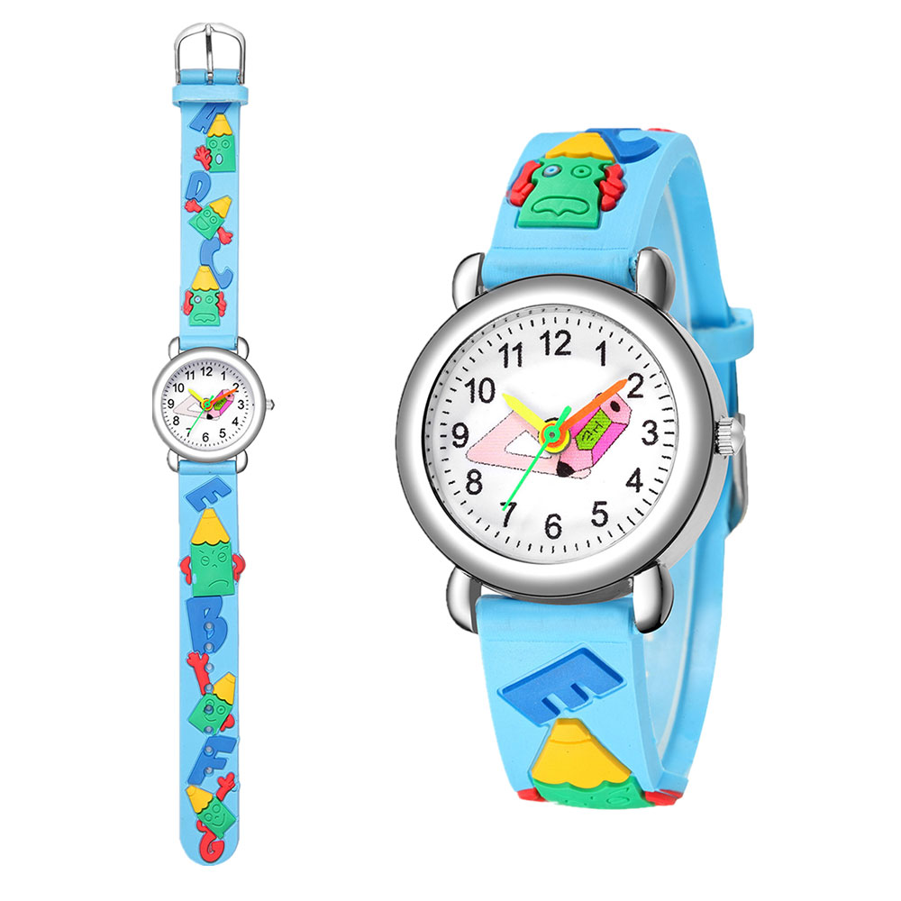 Cute cartoon boys and girls electronic watch color pattern silicone candy quartz digital watch for primary school students