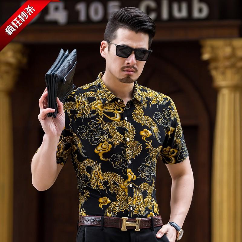 2020 new mens shirt half sleeve top short sleeve flower shirt dad ice dragon pattern mercerized cotton shirt