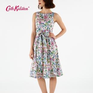 Cath Kidston冬季热销伦敦街景系腰圆领长款无袖连衣裙收腰女