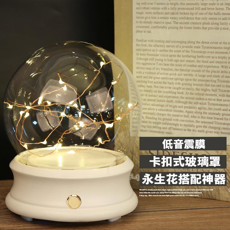 永生花蓝牙音响玻璃罩音乐盒带灯干花防尘罩创意diy七夕情人礼物