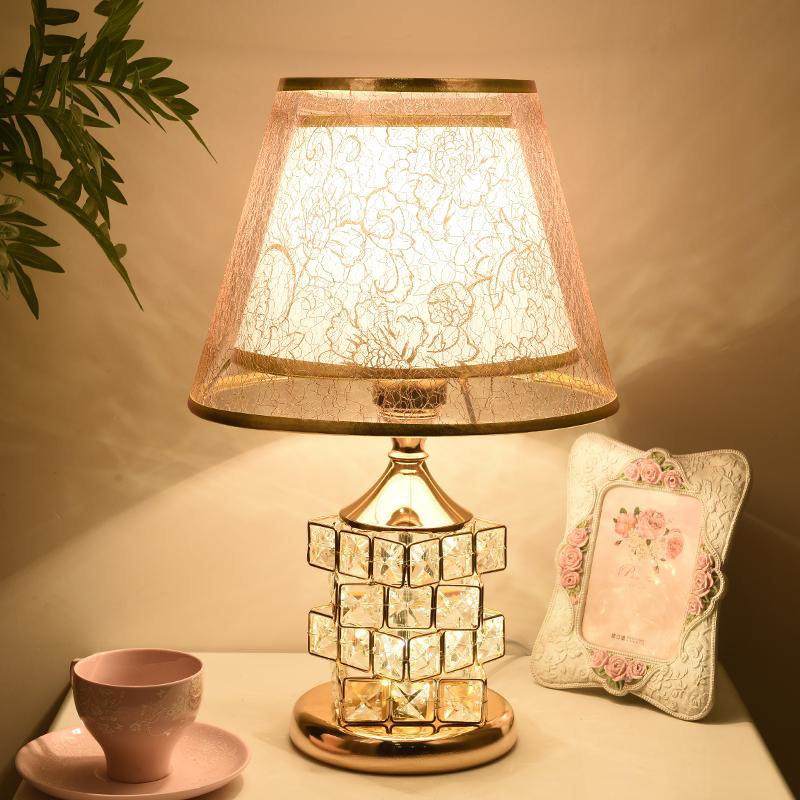 欧式水晶台灯卧室床头灯 家用简约现代温馨浪漫结婚装饰床头柜灯