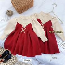女童连衣裙2020年秋冬新款公主裙红色新年针织裙宝宝加绒小童裙子