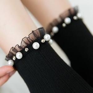 睦白蕾丝袜子女中筒花边日系网纱袜口韩国可爱珍珠铆钉珠仙纯棉袜