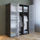 租房可拆卸大塑料实木布艺挂儿童储物衣橱收纳柜子 简易衣柜布组装