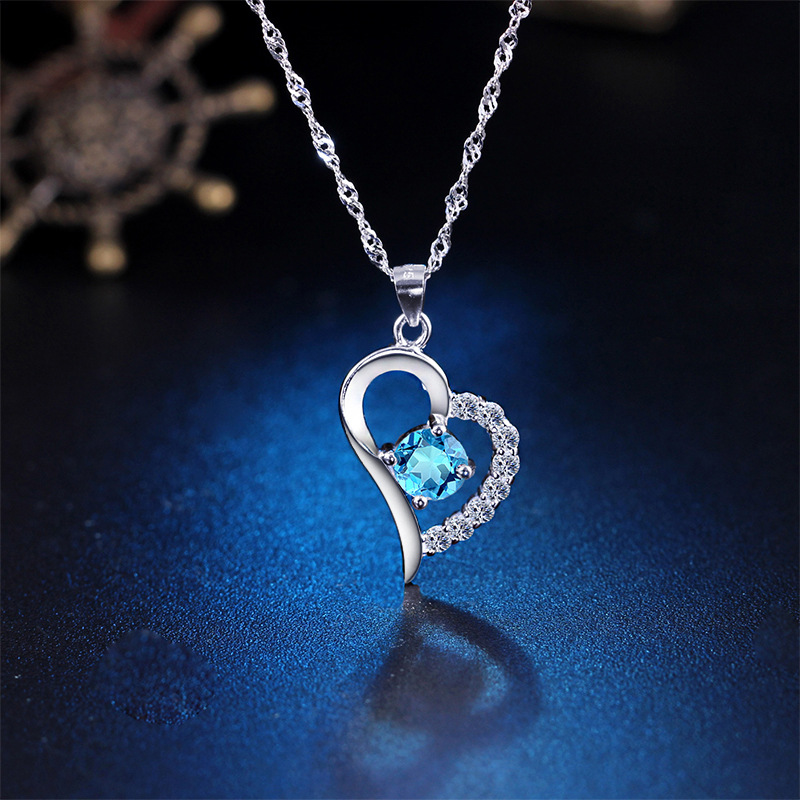 S925 Sterling Silver heart-shaped clavicle Necklace Pendant Japanese and Korean simple style love gift