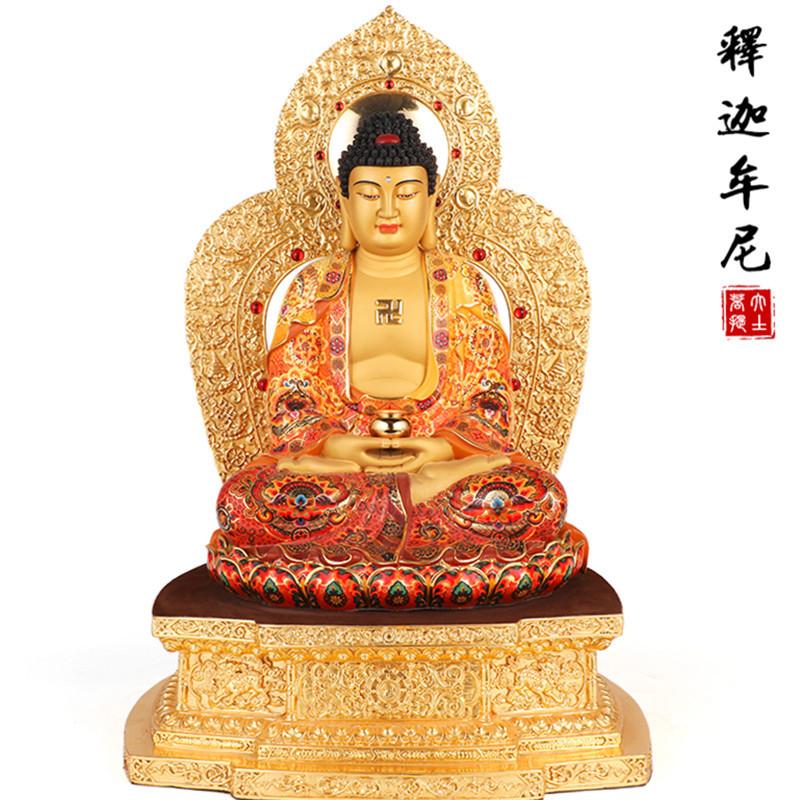 台湾纯铜手工彩绘佛像释迦牟尼佛娑婆三圣如来佛祖三宝佛供奉摆件
