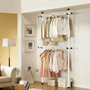 顶天立地多功能衣架落地DIY简易折叠衣帽架卧室挂衣架简约现代