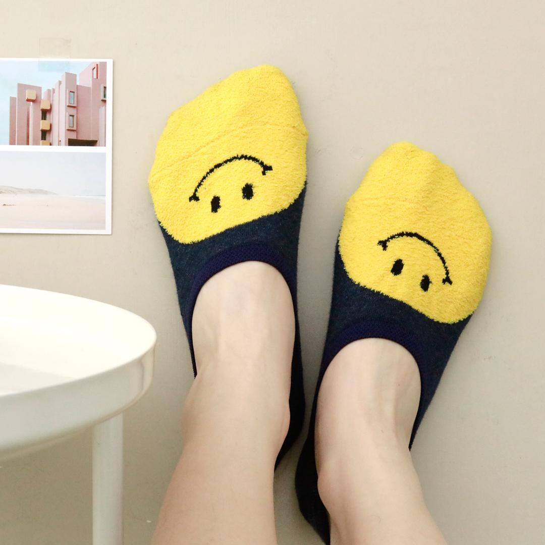 multisocks 自留推荐!正脸黄色笑脸植绒浅口低帮隐形袜韩国女袜