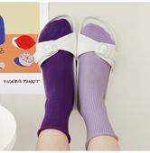 韩国进口 紫色卷边袜ins街拍纯色热卖潮流紫外光舒适中筒女袜