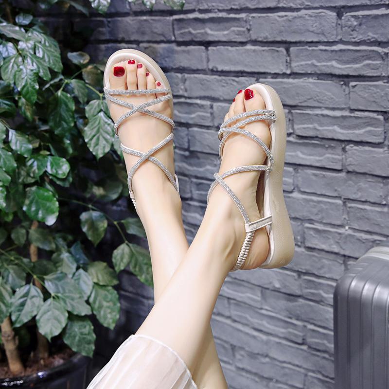 女時裝水鉆涼鞋2020年夏季新款學生軟底舒適仙女風超軟百搭平底鞋