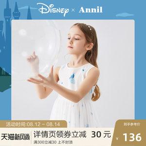 迪士尼女童公主裙无袖安奈儿童装女孩连衣裙2020夏季新款甜美礼裙