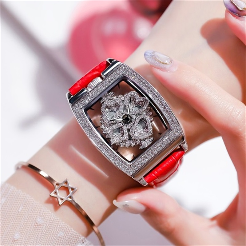 Square rotating watch womens net red the same fashion trend waterproof simple womens Watch