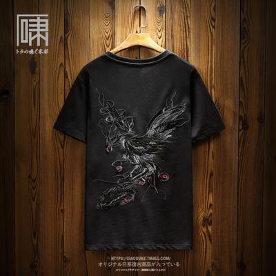 【断码】国潮中国风凤凰涅槃刺绣短袖T恤 男日系潮男体恤小众半袖