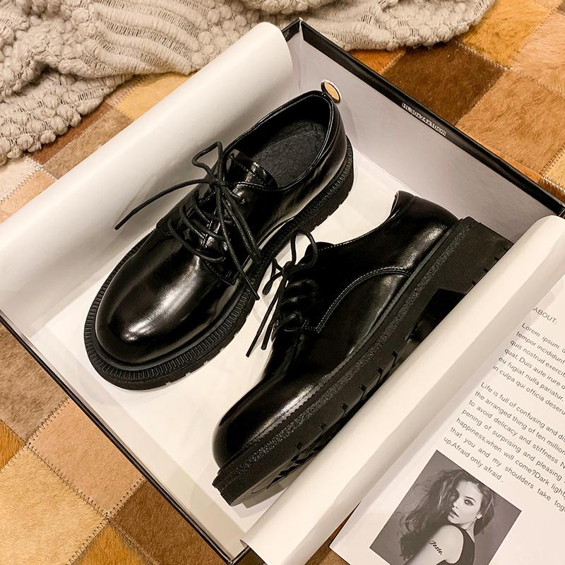 厚底小皮鞋女英伦学院风系带圆头软皮深口牛津鞋黑色平底复古单鞋