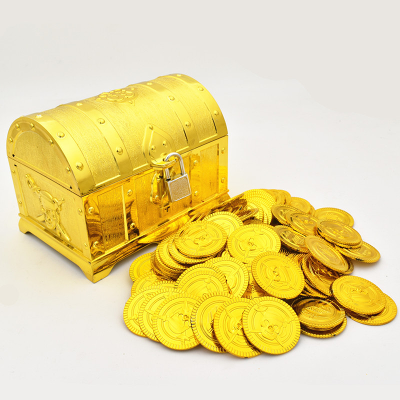儿童海盗寻宝藏塑料金色宝箱金币宝石钻石过家家游戏玩具演出道具