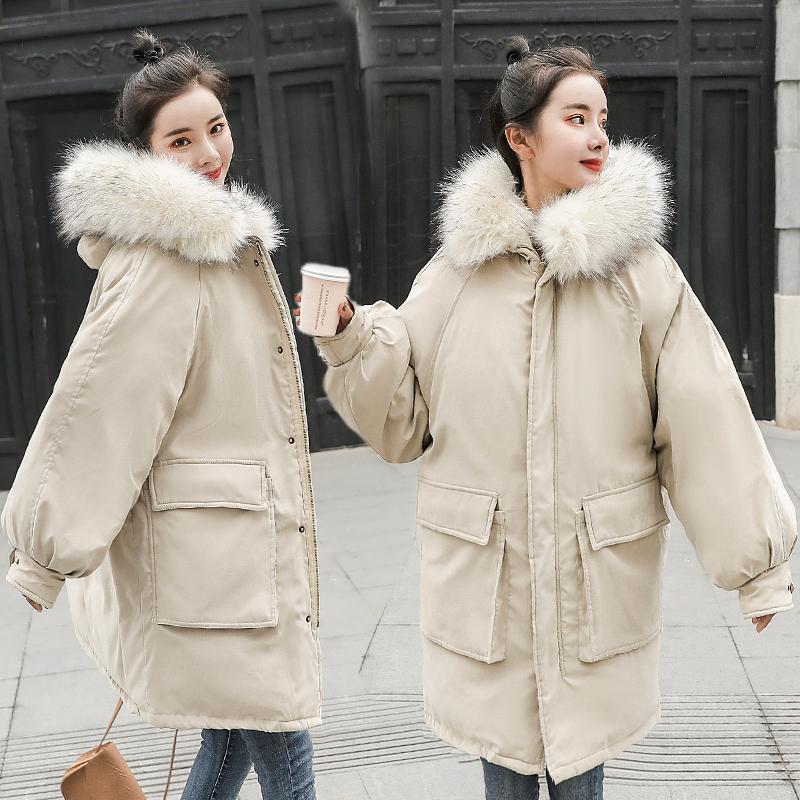 2018年冬季新款棉衣女中长款韩版大毛领加厚保暖bf棉袄宽松棉服潮