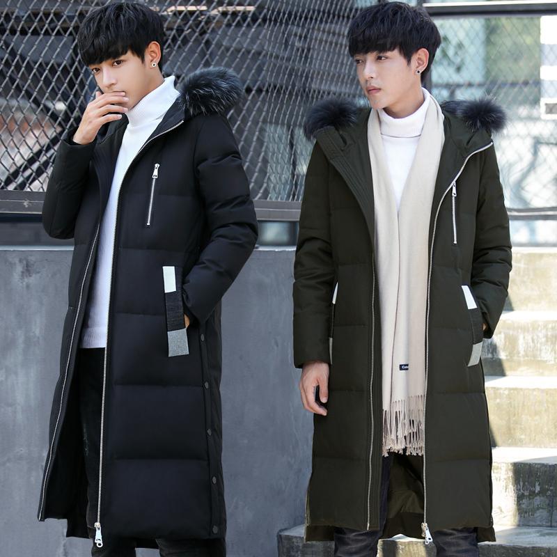 反季新款男士羽绒服中长款韩版休闲加厚帅气大毛领白鸭绒羽绒外套