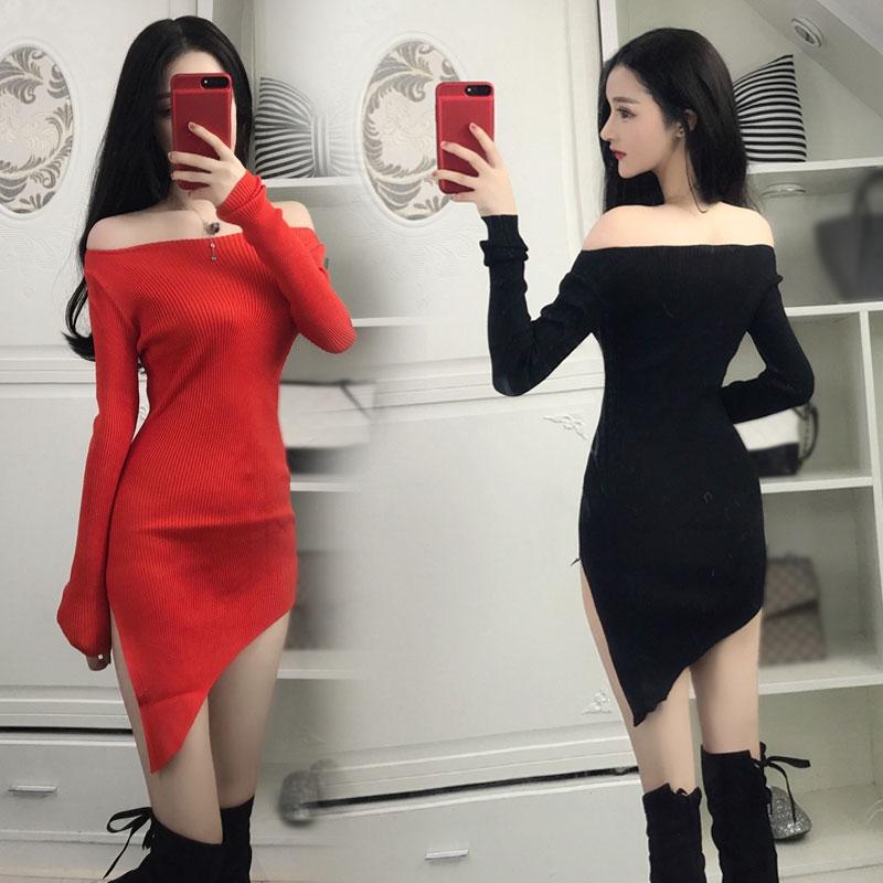2018秋裝性感夜店一字領針織開叉不規則修身長袖包臀打底連衣裙女