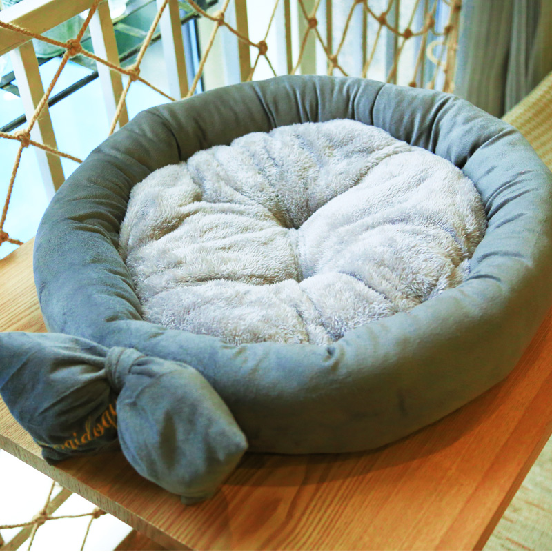 送凉席狗窝小型犬中型犬泰迪圆窝猫窝宠物用品秋冬四季可拆洗春夏图片