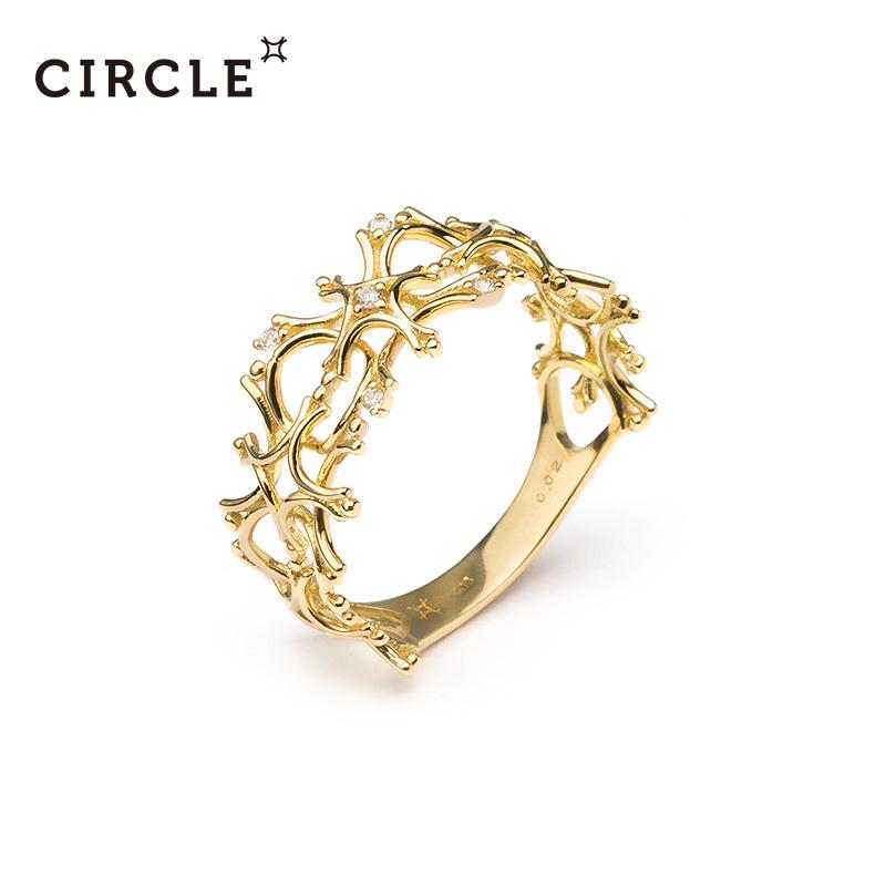 circle日本时尚珠宝 18K黄金钻石雪花镂空戒指女 官方正品