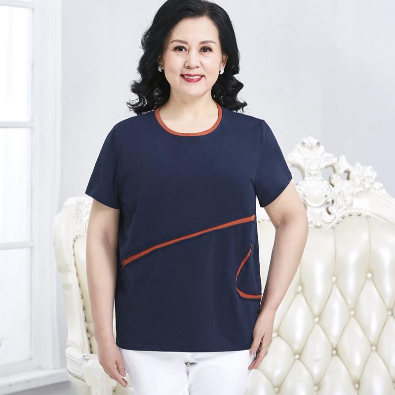 恤上衣短袖加肥加大码中年妇女斤200中老年女装胖妈妈装夏装纯棉t