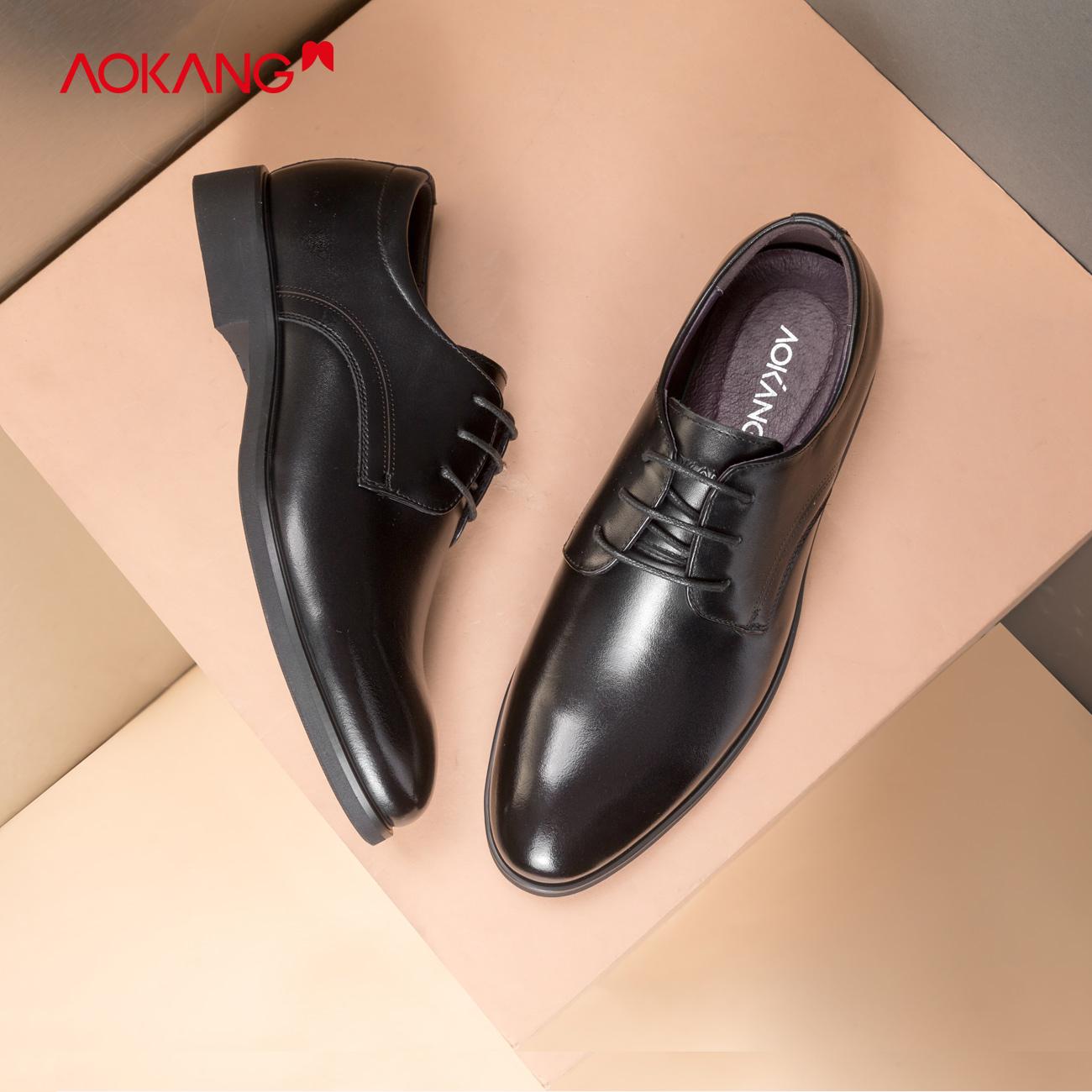 奥康男鞋秋冬季商务正装皮鞋牛皮办公室尖头系带男士工作大码皮鞋