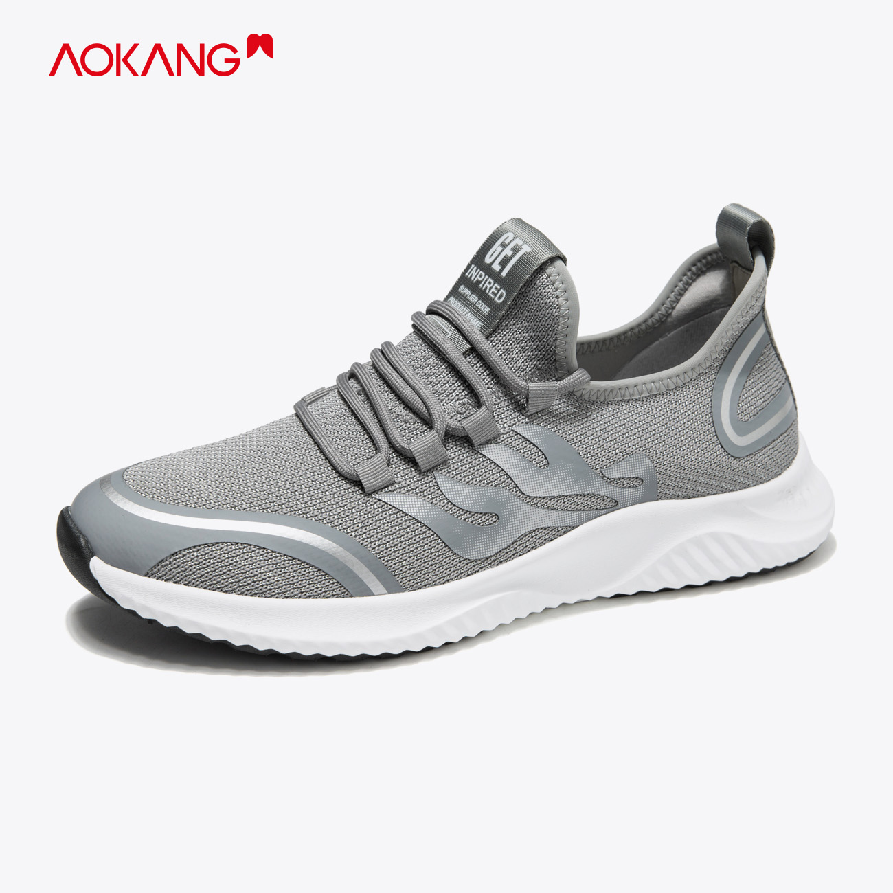 Aokang mens shoes spring and summer 2020 new flying sports shoes comfortable and breathable running shoes low top printing casual shoes
