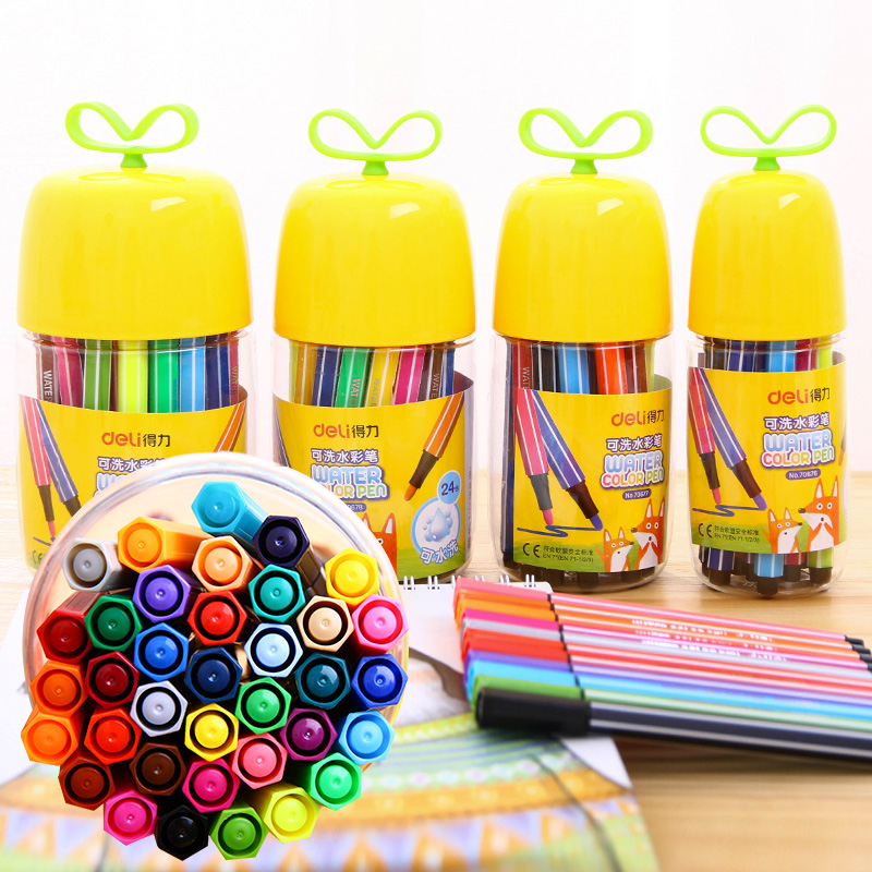 包邮得力水彩笔36色绘画美术可水洗水彩笔套装幼儿学生涂鸦绘画笔