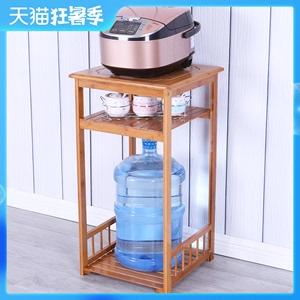 楠竹电饭煲架厨房客厅置物架实木电磁炉烧水壶茶具电器收纳架子