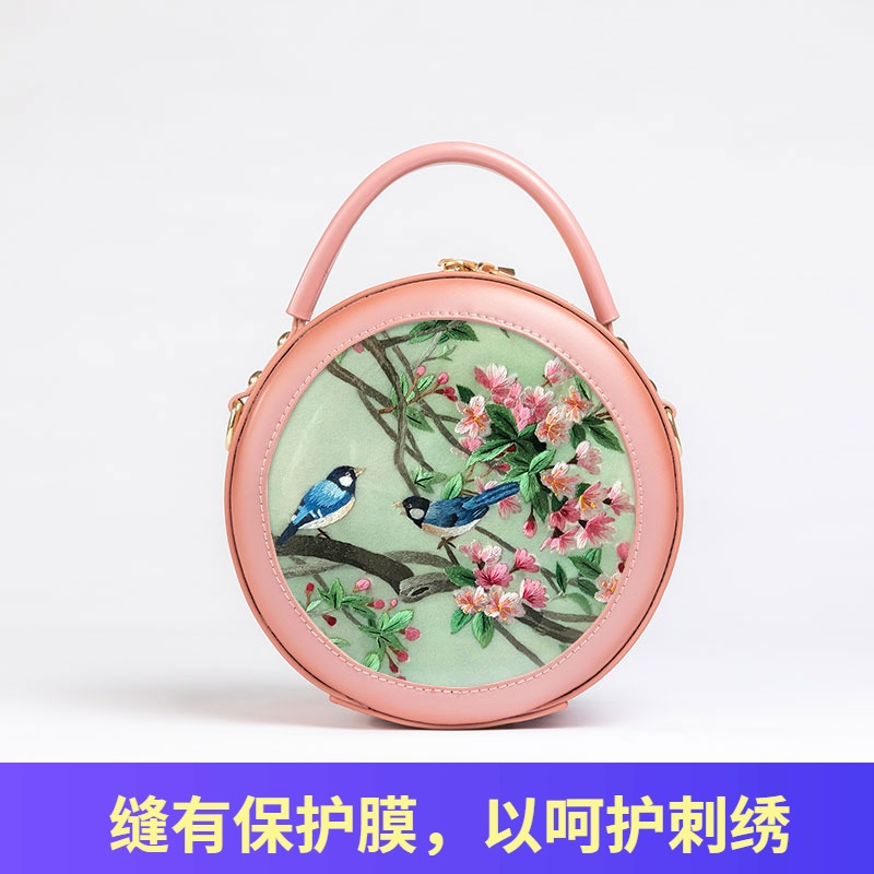 Genuine leather womens bag hand-made Suzhou embroidered cowhide bag single shoulder cross carrying handbag small bag Chinese retro style small round bag