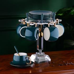 高档咖啡杯碟欧式小奢华简约杯架陶瓷杯家用北欧下午茶具水具套装