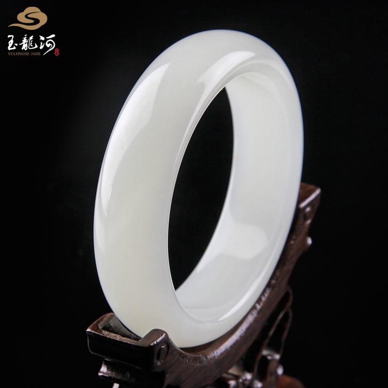 Yulonghe jade ware Xinjiang Hetian jade white jade bracelet 59mm jade bracelet Zifu Bracelet price certificate