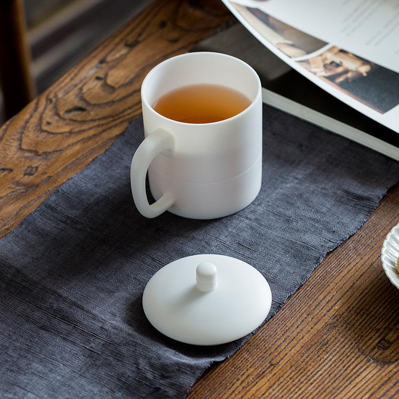 君器 德化白瓷杯子陶瓷杯带盖办公室水杯家用创意简约马克杯茶杯淘宝优惠券