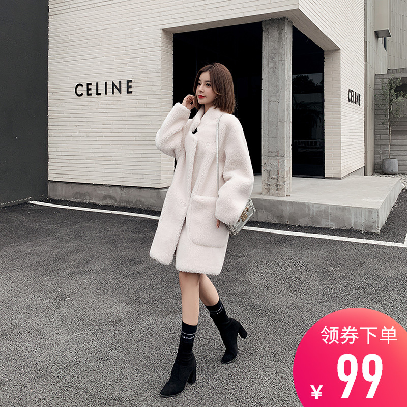 Grain sheep shearing coat women loose fur one medium length lamb fur coat 2019 new thickening