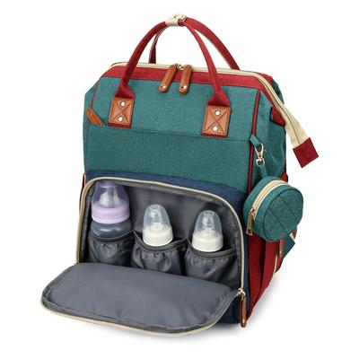 新款妈咪包折叠床母婴包大容量多功能背包外出时尚书包潮流双肩包