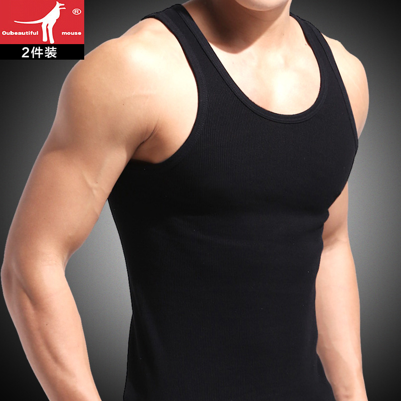 男士背心夏季纯棉修身型跨栏运动健身打底吸汗透气白色男式汗衫潮