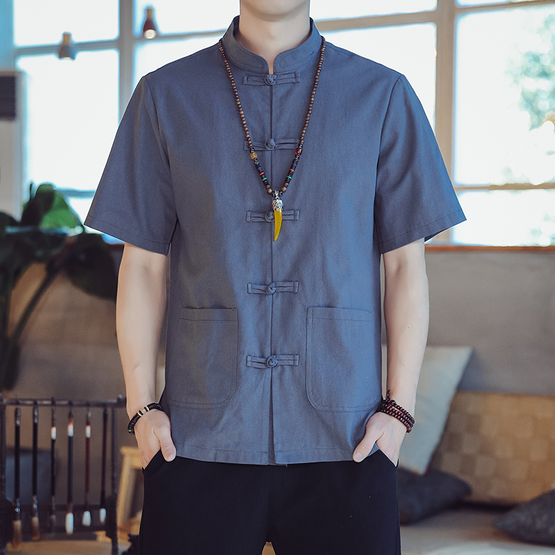 Chinese Style Mens wear Tang Dynasty suit dish button Linen Shirt retro style Han suit Zen suit Chinese style shirt large cotton linen jacket