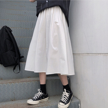 Loose long dress, white work dress, women's skirt, autumn and winter 2019 new Korean high waist, all-around girl student skirt