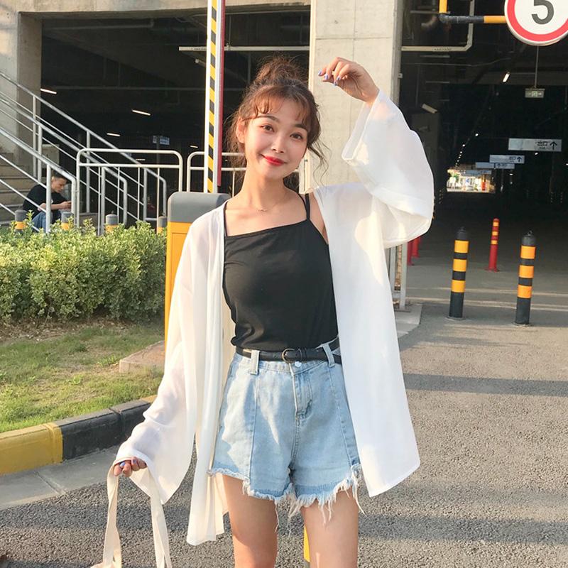 雪纺衫2018夏装新款韩版女装宽松长袖衫衣薄款防晒衣外套开衫上衣