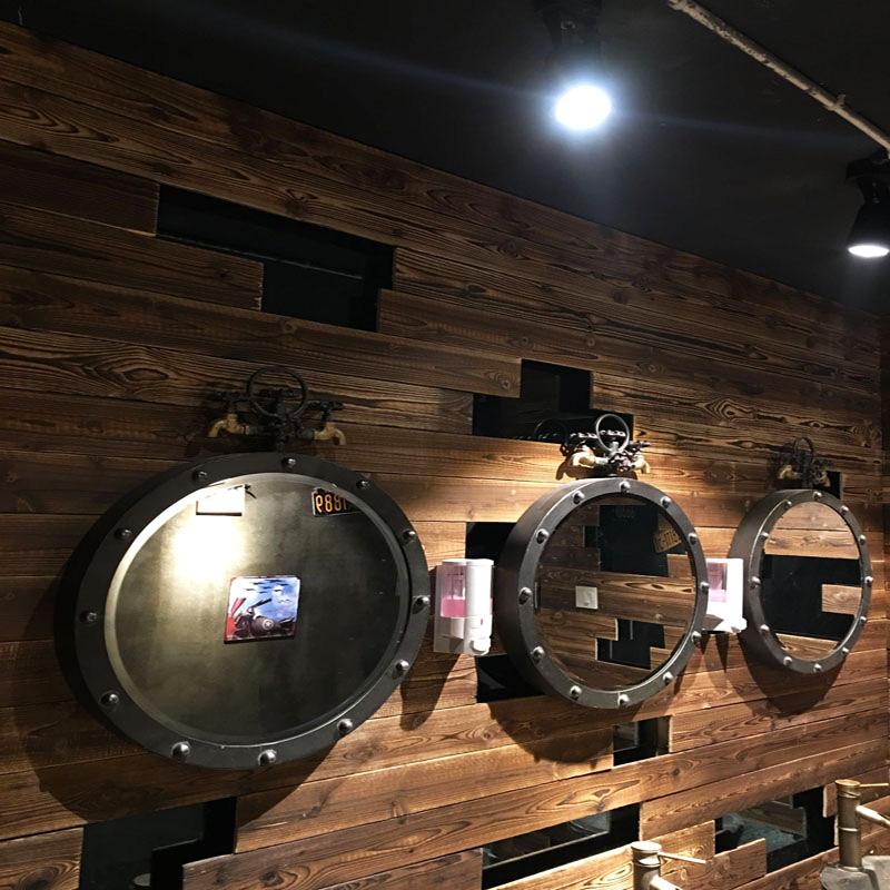 美式工业风墙面装饰创意铁艺卫生间洗手间洗手盆浴室墙面壁挂镜子