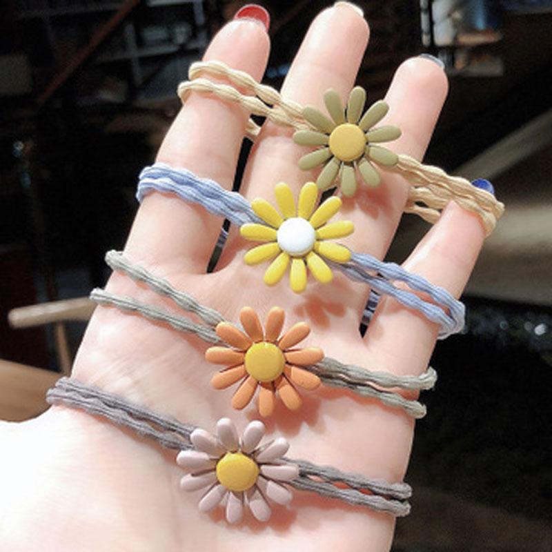 10条韩国泫雅风小雏菊发圈花朵发绳甜美网红少女皮筋可爱韩版头饰