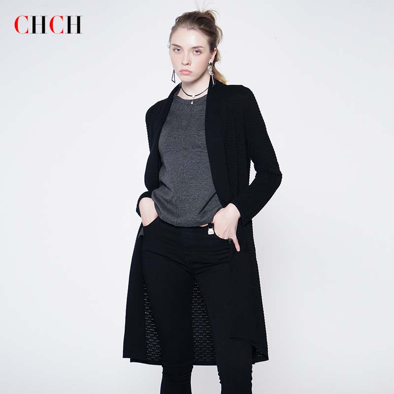 Chch autumn and winter womens loose medium length knitted cardigan long sleeve sweater solid color coat sweater womens fashion
