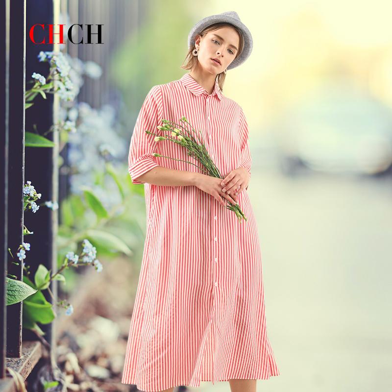 Chch fresh rural silk shirt dress loose casual womens mid long skirt 2020 new spring and summer womens wear