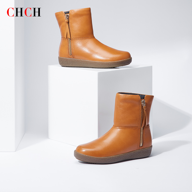 Chch Martin boots 2020 new shopping malls with the same first layer of cowhide womens short boots and retro soft bottom snow boots in velvet