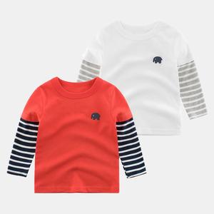 宝宝长袖T恤 2020秋装新款男童童装拼袖多色打底衫女童上衣韩版潮
