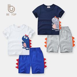 be top童装宝宝夏装短袖套装韩版夏季新款纯棉卡通恐龙两件套男童