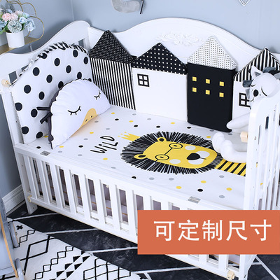 Nordic knitted baby cotton sheets lion bedwetting blanket baby waterproof bed blanket non-fluorescent cotton can be customized