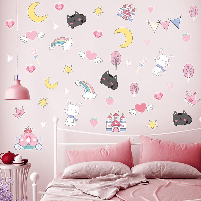 布置卧室墙壁贴画公主墙上小墙纸